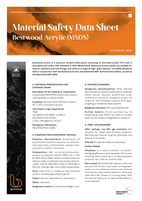 Bestwood Acrylic MSDS